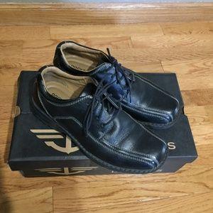 Mens black Docker dress shoes. Size 7